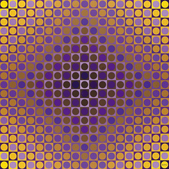 Victor Vasarely - Alom Violet/Yellow