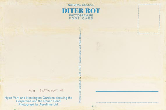 Dieter Roth - Postcard (Hyde Park) - Signature