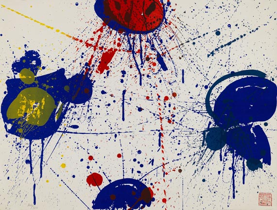 Sam Francis - 2 Blätter: Hurrah for the Red, White and Blue. The upper Red -