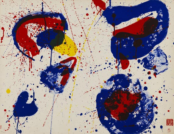 Sam Francis - 2 Blätter: Hurrah for the Red, White and Blue. The upper Red
