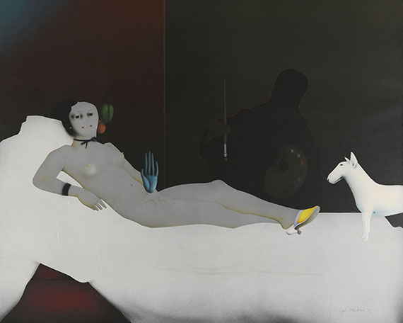 Paul Wunderlich - Olympia with dog II