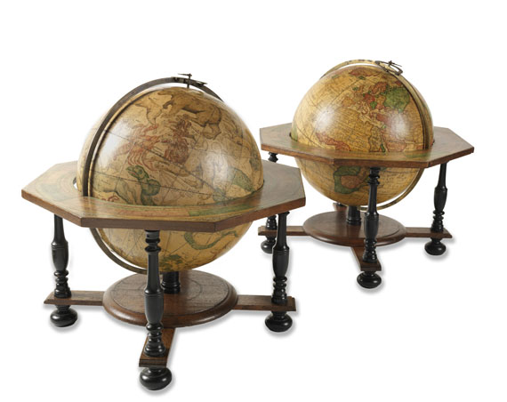 Globus - Pair of Celestial and Terrestrial Globes, 32 cm diameter. J. G. Doppelmayr 1728 (revised ed. by W. P. Jenig, 1789/90).